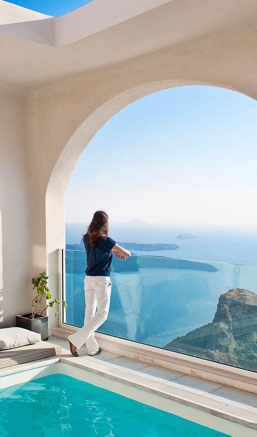 View over the caldera from the Gold Suites Santorini http://www.mediteranique.com/hotels-greece/santorini/gold-suites/