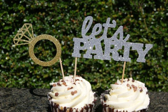 Lets Party and Ring Cake Toppers  Glittery by BarnOwlParties