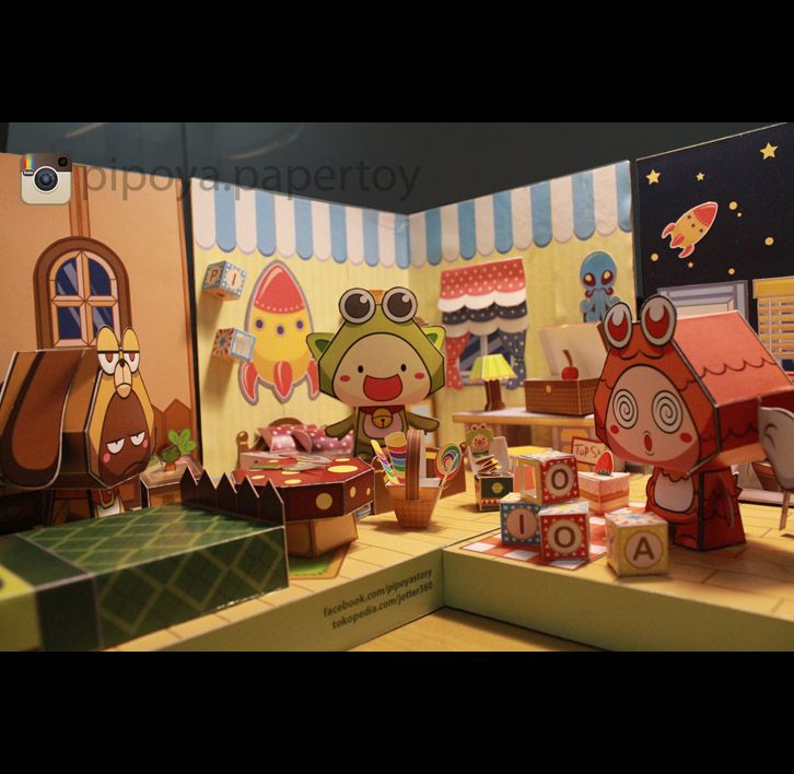 Epic paper diorama Bedroom from DecoDeco PiPoYa. Papertoy PiPoYa cute Gift and craft