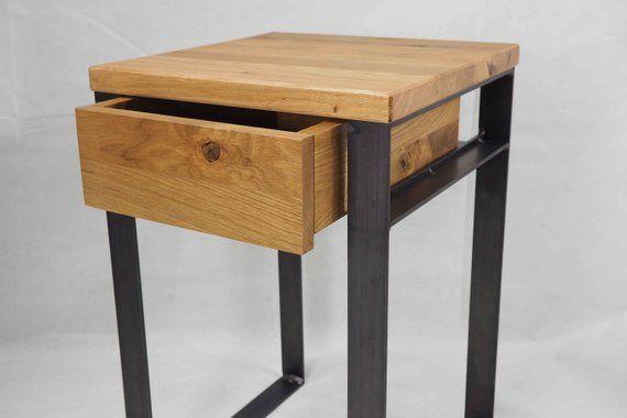 Nachttisch 50 Mit Schublade Stahl Und Massive Eiche