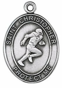 Football Player Pewter St. Christopher Necklace