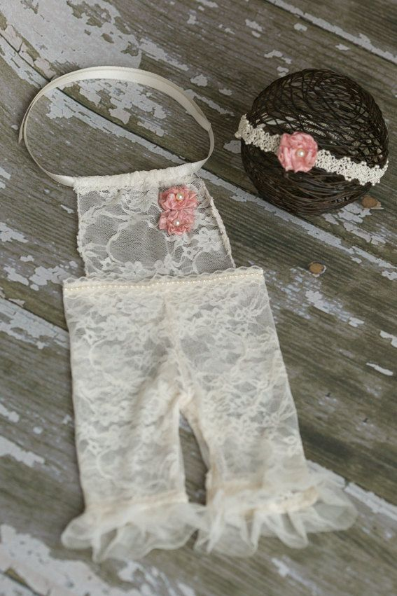 Cream Lace Newborn Romper and Headband Set by LittleBittieBoutique