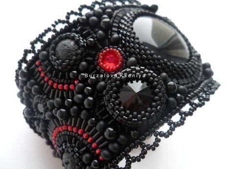 Купить Браслет 057 - черный, Браслет ручной работы, браслет на руку, браслет из бисера