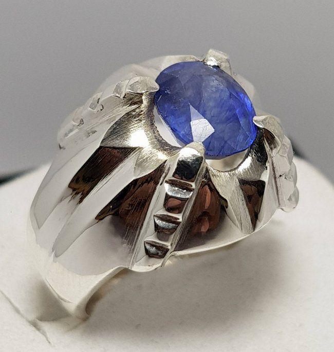 Natural Mens Blue Sapphire Ring Dark Deep Ink Blue Sapphire Ring Sapphire Gemstone Rings 925 Sterling Silver Shia Rings Healing Rings Three Stone Diamond Rings Engagement Blue Sapphire Rings Natural Blue