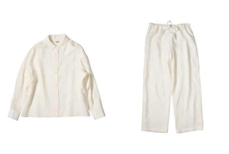 Margaret Howell Nightwear PJs Linen Off White