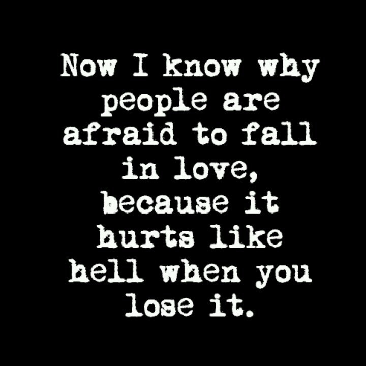 Quotes About Being Afraid To Fall In Love: Now I Know Why People Are Afraid To Fall In Love, Because