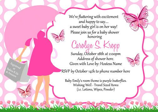 Butterfly Baby Shower Umbrella Invitations Digital Print As