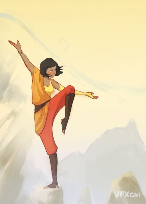 So I drew Korra in my own made up air bender attire. This started out as a big wide piece with a background and everything, but I was not liking where the ...