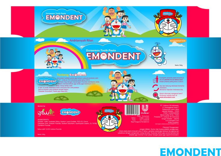 "Desain Packaging Pasta gigi ""Doraemon"""