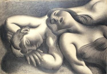 .José de Almada Negreiros (1893-1970). The Nap. 1939. Charcoal on paper. MNAC-Museu do Chiado - #Lisbon