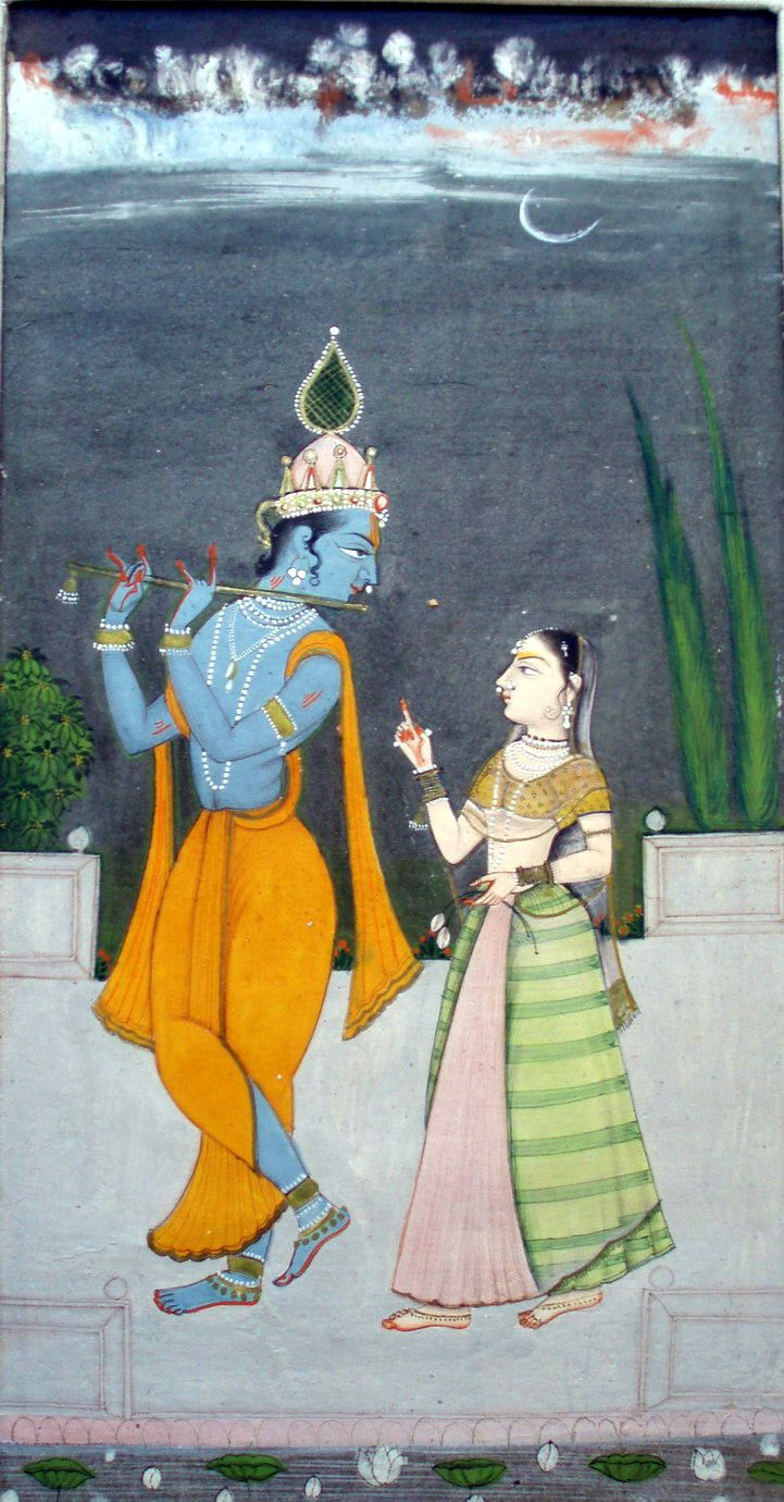 radhakrsna:  Krishna Fluting for RadhaBikaner18th C.