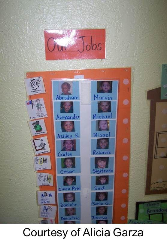 Student job chart using Velcro