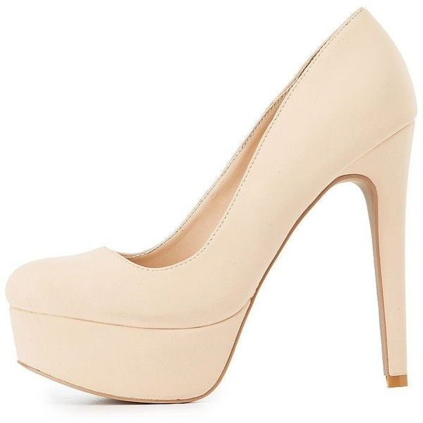 Charlotte Russe Faux Suede Platform Pumps ($33) ❤ liked on Polyvore featuring shoes, pumps, nude, almond toe pumps, sexy pumps, platform pumps, nude platform pumps and sexy stilettos