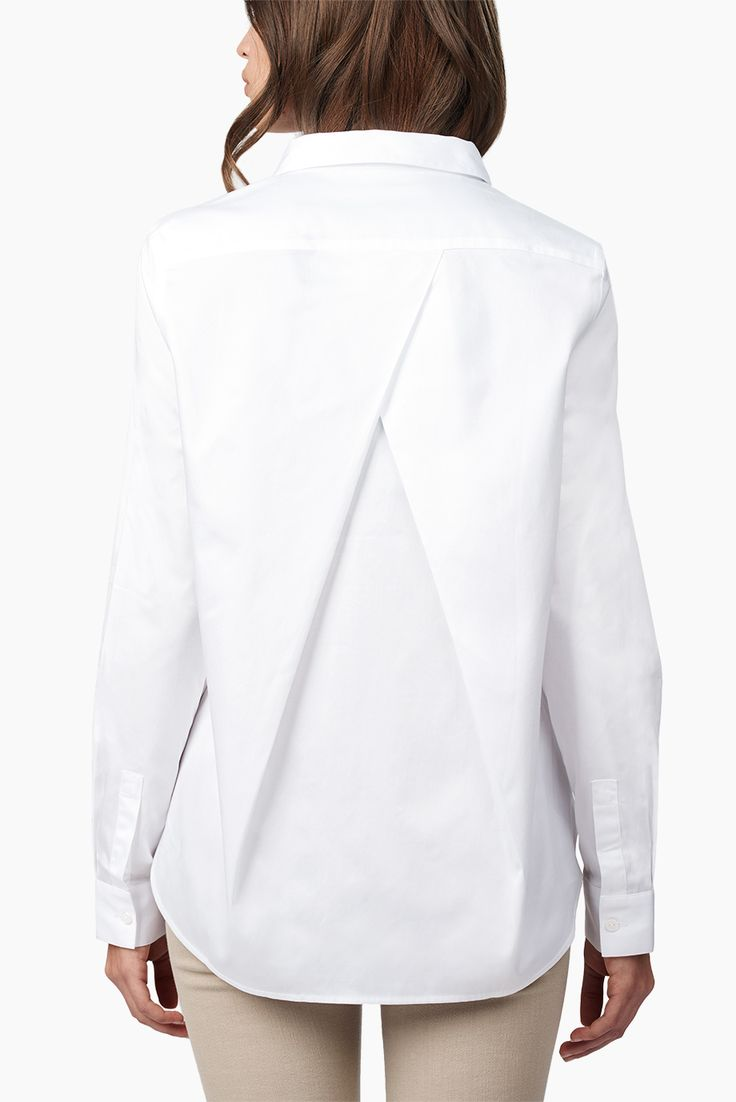 Poplin Pleat-Back Shirt White