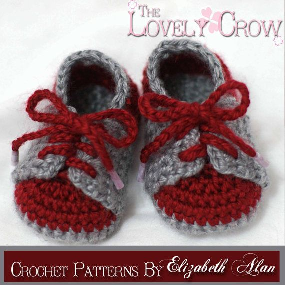***This listing is for a crochet PATTERN. You are not buying a finished pair of shoes.***    Have Questions? Check the Forum! - http://www.ravelry.com/groups/the-lovely-crow      You're looking at a crochet pattern for a cute little pair of tennis shoes, or saddle shoes.    Find us on Facebook! I keep my customers updated on new patterns, and sometimes offer coupon codes and do giveaways! www.facebook.com/TheLovelyCrow    Materials needed:    worsted weight yarn, E4 crochet hook (or hook…