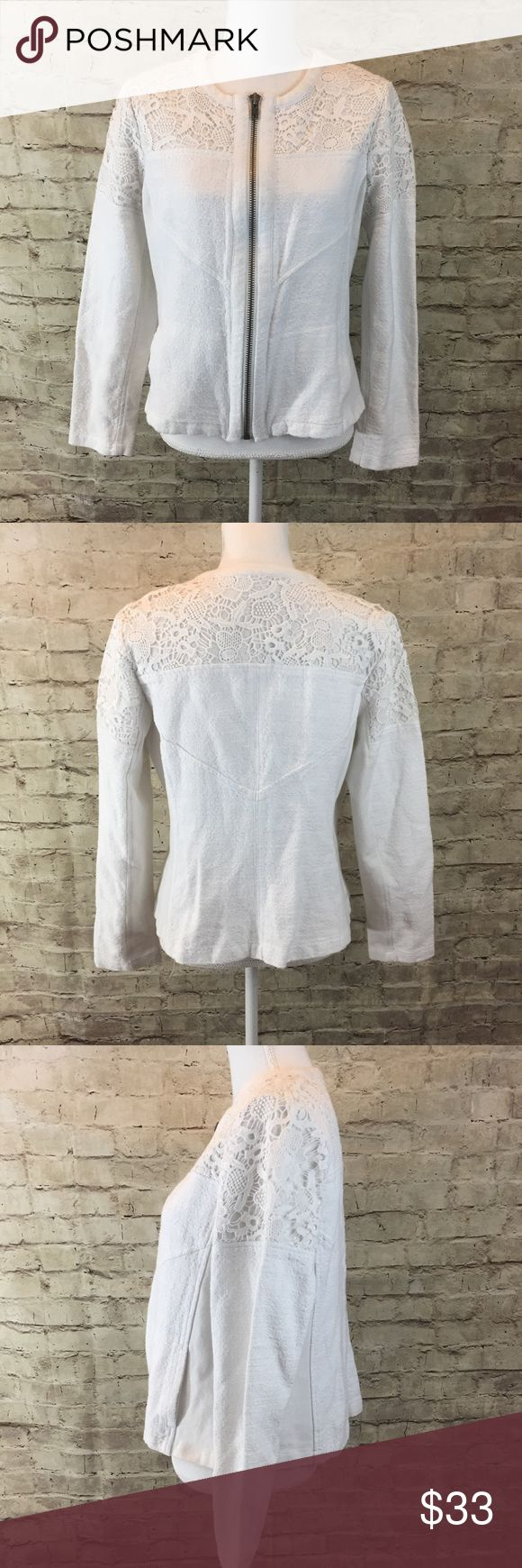 CAbi Lace Insert Jacket White zip up jacket with lace inserto on the top part and back. In good preowned condition CAbi Jackets & Coats