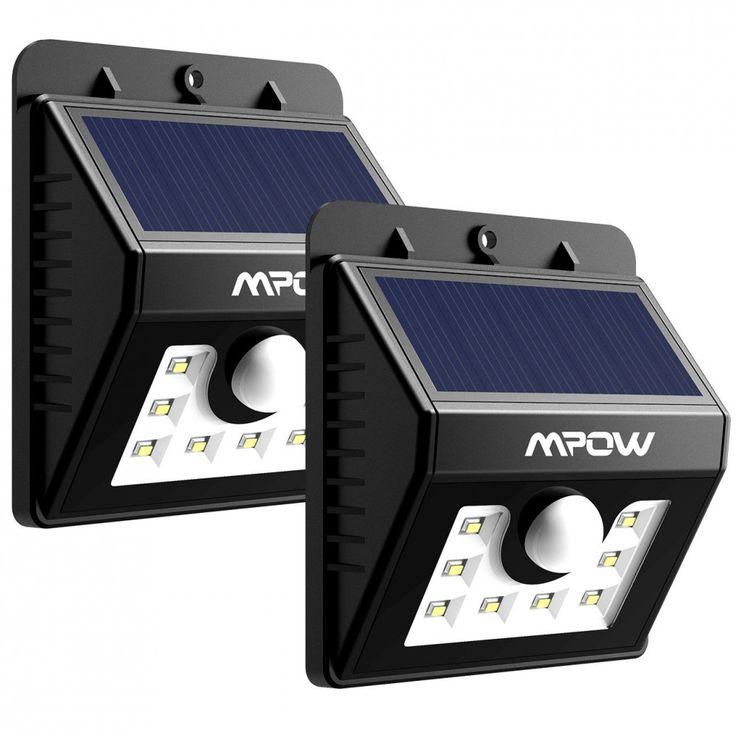 Mpow Solar Lights, 2-Pack 8 LED Bright Solar Powered Security Lights with Motion #Mpow