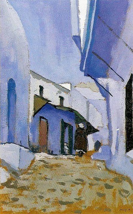 Albert Marquet (1875 — 1947, Farnce) Street in Tangier. 1913  gouache on cardboard. 37 x 24 cm.