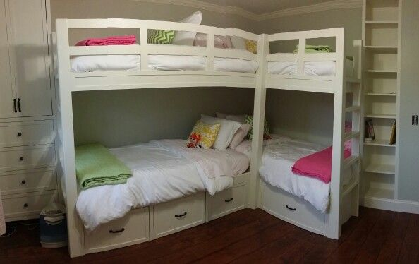 Girl S Shared Room Corner Bunk Beds Home Decor Corner
