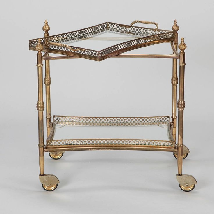 Two Tier Brass and Glass Serving Trolley with Removable Tray 2