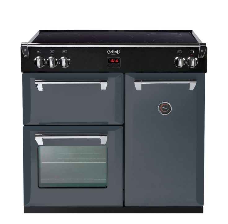 The dark gray 90cm Induction Belling Range Cooker lets you pour in your style in your kitchen. The Dramatic Dawn features a multicavity multifunction electric oven, and either a 5 zone induction cooktop with slide controls or a cast iron gas top. Regardless of your choice of fuel, Belling kitchen appliances are proudly manufactured in the UK since 1912.