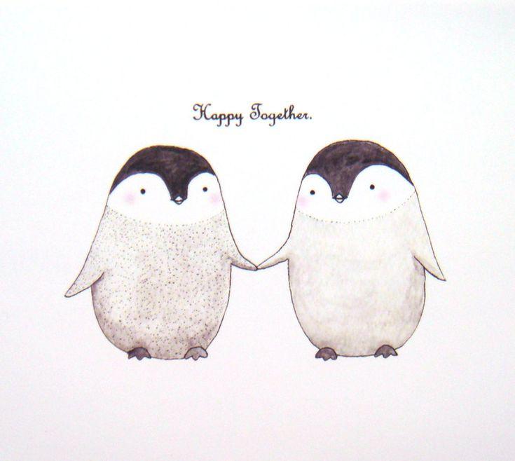 Cute Penguin Love Original Illustration Print Home Wall Decor 4x6. $7.99, via Etsy.