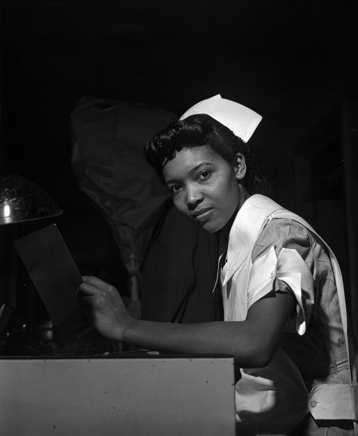 """The Great Migration -- """"Lydia Monroe of Ringold, Louisiana, is a student nurse at Provident Hospital in Chicago, Illinois. Her father is a machinist at the Youngstown Sheet and Tube Company.""""Photo by Jack Delano, March, 1942"""