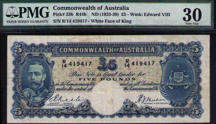 Commonwealth of Australia ND1933 £5 KEVIII PMG Certified VF30 R44b Pick# 23b