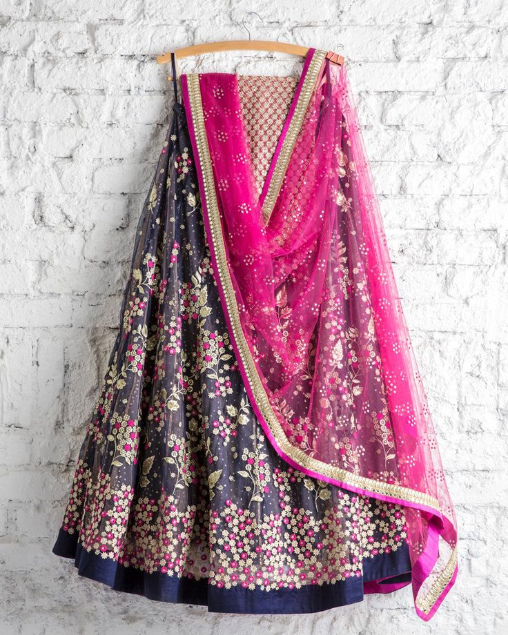 SwatiManish : Persian blue pink and beige tread work lehenga and pink badla dupatta