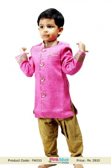 Indian Kids Designer Pink Breeches Style Indo Western Sherwani for Boys - Shop at http://www.pinkblueindia.com/kids-new-bollywood-indo-western-party-wear-sherwani-and-breeches-pajama.html