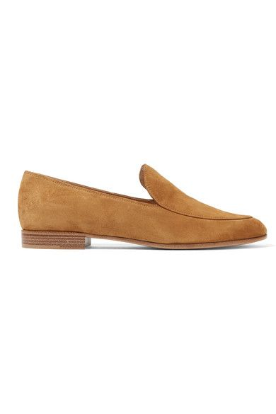 SOFTEST SUEDE: Gianvito Rossi's loafers are a perfect work-to-weekend staple that you will wear for years to come. Expertly crafted in Italy from supple tan suede, they're lined in smooth leather and set on a slight heel. Showcase them with cropped jeans.