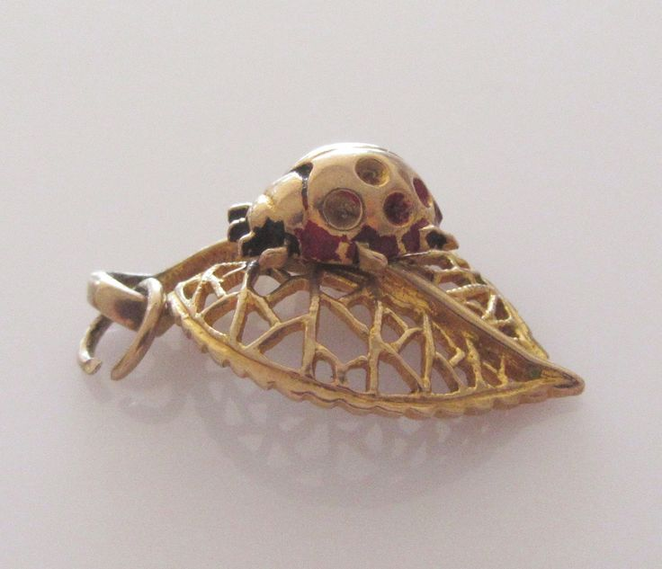 9ct Gold Nuvo Ladybird on a Leaf Moving Charm or Pendant by TrueVintageCharms on Etsy