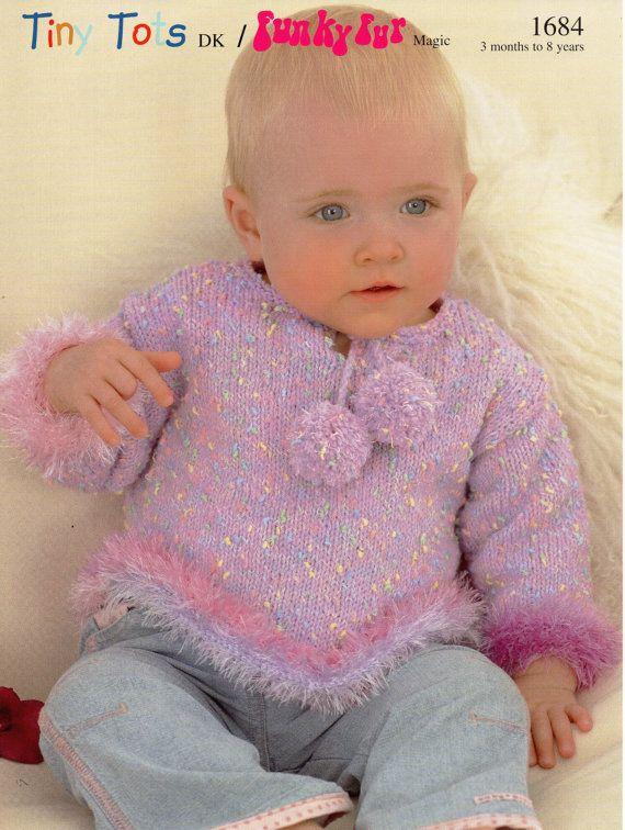 2B8061  Baby Girls Sweater Fur Trim PomPoms Girls Furry Sweater Baby jumper…