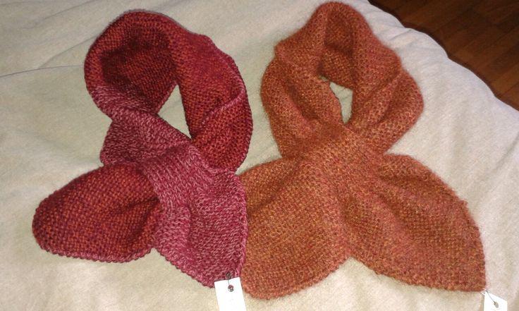 """Sciarpine """"della nonna Virginia"""", in lana di alpaca, lavorazione a ferri"""
