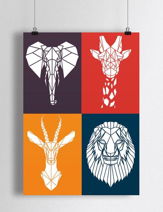 Art Print Bright gekleurde safari dieren voor kwekerij oranje, Marine, paars, rood dier kunst