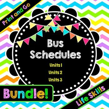 Life Skills Real World Reading Time and Math: Bus SchedulesLooking for a COMPLETE unit to teach your students how to master bus schedules? Look no further!! I have created a bundle that includes all 3 of my very popular bus schedule units all in one download.Each separately would cost $14.