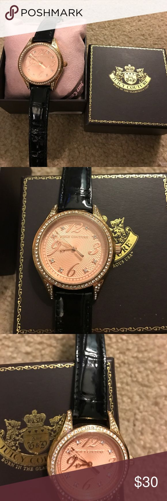 Rose gold juicy couture watch NEEDS battery. Juicy couture rhinestone watch with rose gold face plate. NEEDS NEW BATTERY but works fine. Juicy Couture Accessories Watches