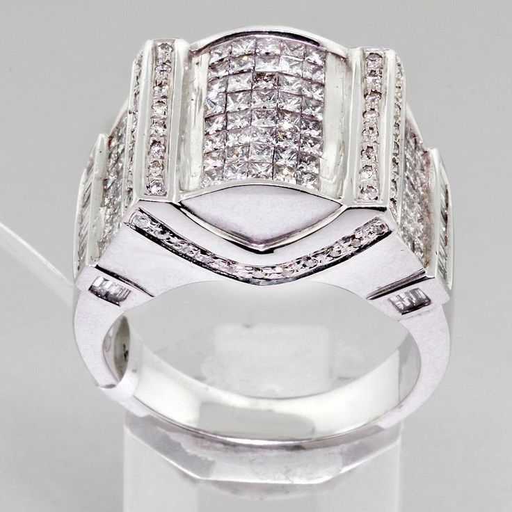 3.00 TCW Custom Mens Diamond Ring in White Gold