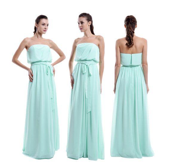 Mint Long Bridismaid Dress Strapless Bridesmaid par harsuccthing
