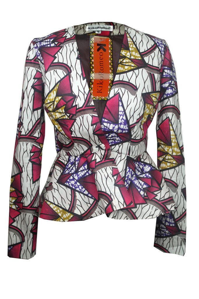 African Print Peplum Jacket