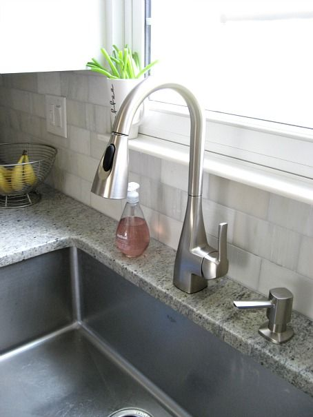 Moen Kiran Faucet : This is a Sponsored post written by me on behalf of Moen, Incorporated.    (Also, note the marble windowsill trim. Need this in our kitchen.)