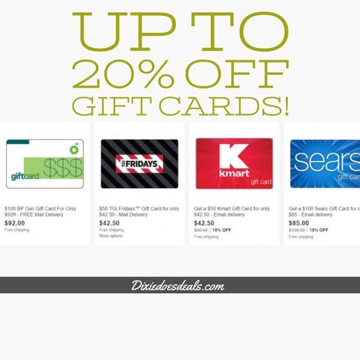 $100 Sears Gift Card Only $85   More Gift Card Deals:   Save up to 20% on gift cards! These are great way to save if you plan on making a major appliance, electronics or other big purchase!   You can also get discount fuel and dining gift cards to save when you travel.