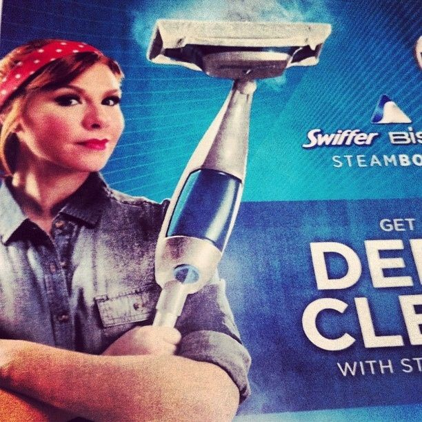 Tribute or sexist? Swiffer's Bissell Steam Boost ad featuring Rosie the Riveter-esqu woman.