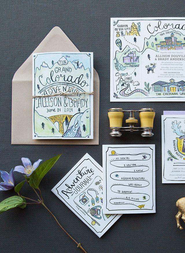 Illustrated Adventure Driven Wedding Invitations Custom Wedding
