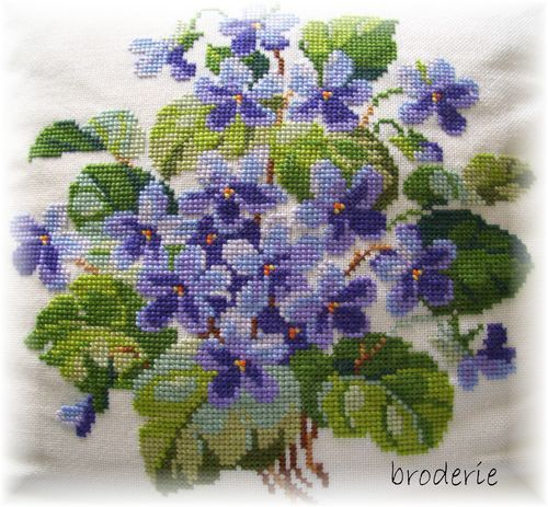 cross stitch violets - fine wool on linen