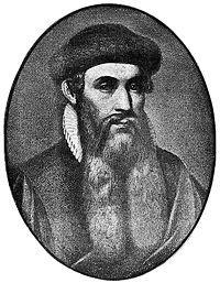 Johannes Gutenberg – 1398-1468 - foi um inventor e gráfico alemão. Foi ele que inventou o tipo mecânico móvel para impressão e foi assim que começou a Revolução da Imprensa, que é sem dúvida o evento mais importante do período moderno. Gutenberg teve um papel fundamental no desenvolvimento da Renascença.  Foi o primeiro no mundo a usar a impressão por tipos móveis (marcante aperfeiçoamento nos manuscritos), por volta de 1439, e o inventor da prensa móvel.