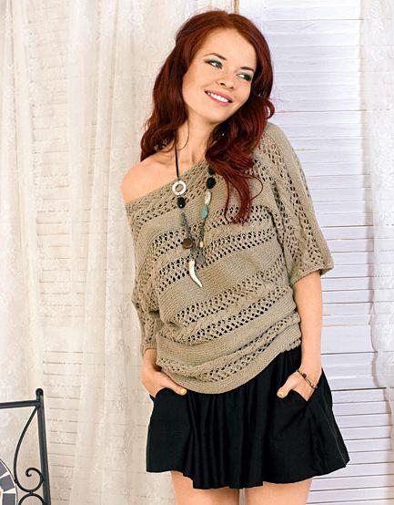 Поперечно вязаный пуловер с ажурными полосами Размер: 42/44.