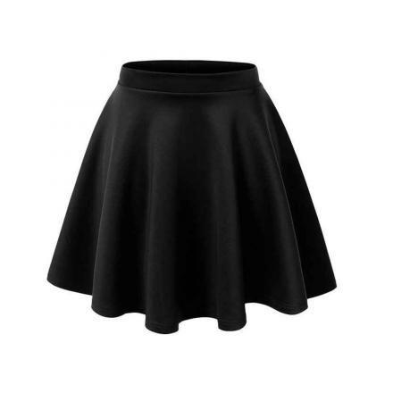 Falda Corta Plisada High Waist-Negro