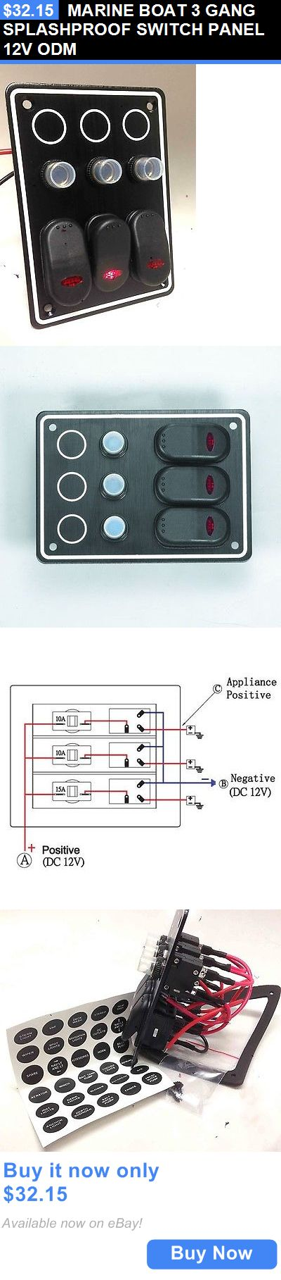 boat parts: Marine Boat 3 Gang Splashproof Switch Panel 12V Odm BUY IT NOW ONLY: $32.15