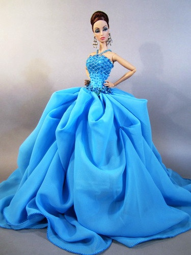 Eaki Blue Dress Outfit Clothes Gown Silkstone Barbie Fashion Royalty Designer Fr | eBay